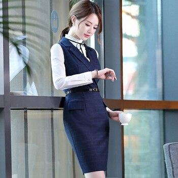 Women dress Lapel Professional  Ladies Office Work Sleeveless Dress Business Autumn Large size Formal wear ol Pack hip dress formal wear
