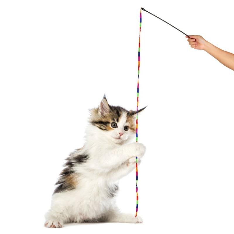 Heerlijk Interactieve Kat Training Levert Speelgoed Groothandel Regenboog Streamer Huisdier Kat Veer Speelgoed Speel Kat Wand Catcher Teaser Sticks