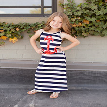 Emmababy Sumnmer Baby Girl Dress Loose Casual Sleeveless Straight Anchor Printed Blue and White Striped arrival Streetwear