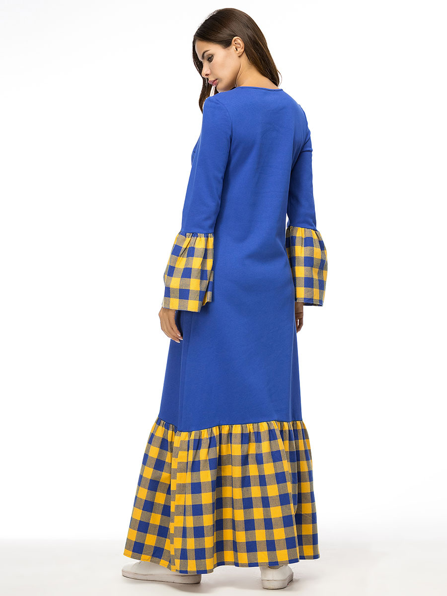 Muslim Gowns In Trumpet Sleeve Dresses With Plaid Stitching Of European And American Thicker Knitted Sanitary Garments in Dresses from Women 39 s Clothing