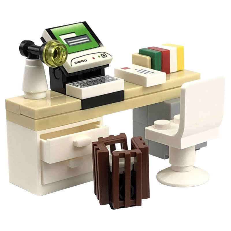 Vergrendeling Moc Schepper Blokken Bureau Boekenkast Piano Bad Set Bouwstenen Speelgoed Voor Kinderen Voor Schepper Diy Scènes Blokken Onderdelen