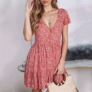 Image 4 - Peachtan Zomer korte strand jurk vrouwen V hals bloemenprint badpak cover up 2019 Feminino Jurk Vestidos Tuniek Rok beachwear