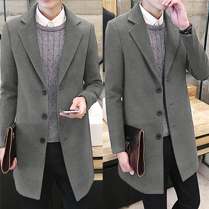 fashion Men Autumn Winter Formal Single Breasted Figuring Overcoat Daily casual Long Wool Jacket Outwear Top #4M25 (3)