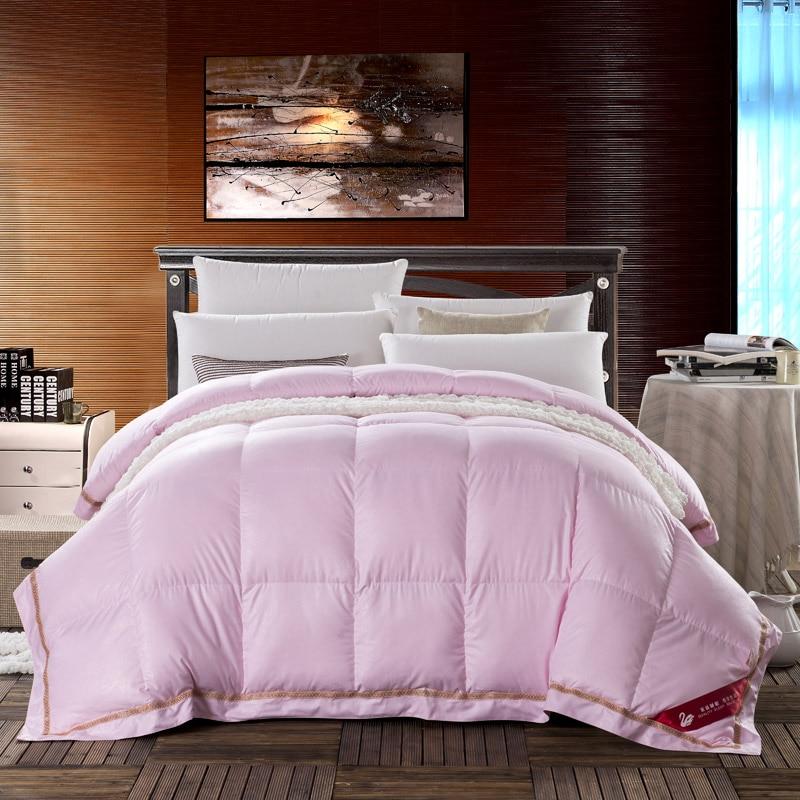 pink goose down duvet full queen size winter warm thicker comforter bedding set girls adult. Black Bedroom Furniture Sets. Home Design Ideas