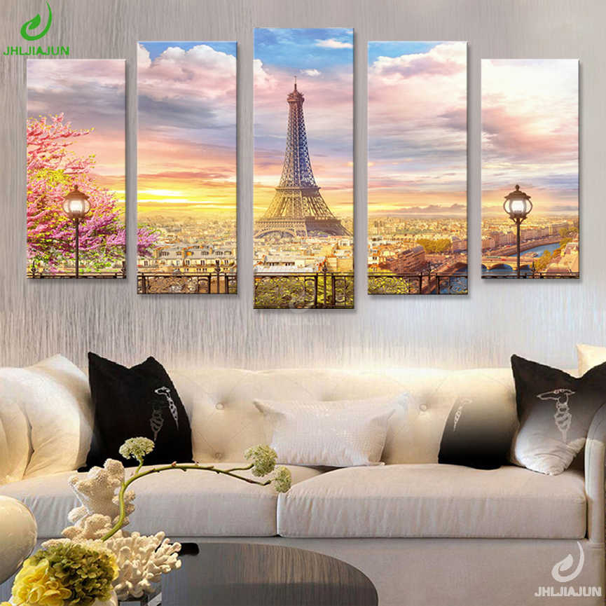 5 Panel Canvas Prints Wall Art Modular Picture New York Scenery Paris Nordic Posters Paintings Sitting Room And Room Affiche2018