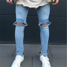 2017 new American and European style knees holes biker jeans fashion motociclista jeans men 1846
