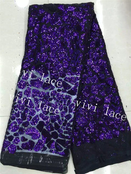 5yards  VV004 dark blue  tense dobby sequin embroidery tulle mesh lace for stage show/evening dress/sawing/fashion designer