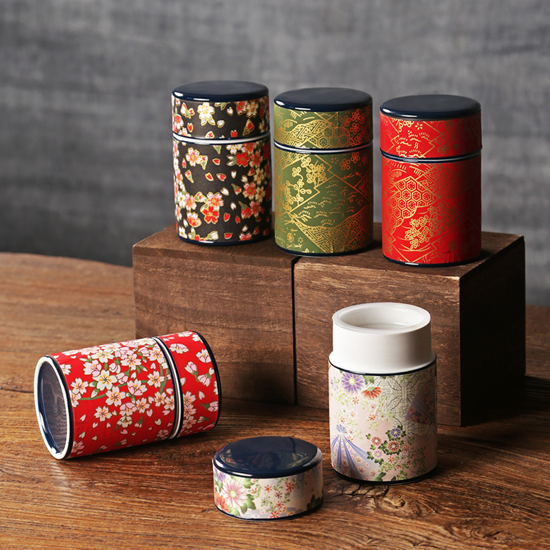 Japanese Sticker Kung Fu Tea Caddy Pottery Canister Container Ceramic Caddies For Puer Matcha Green Tea