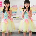 Rainbow Angel Butterfly Fairy Halloween Children Party Dress Princess Kids Clothing Colourful