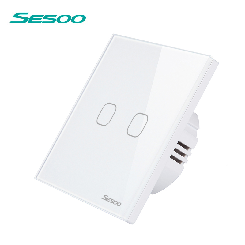 SESOO Remote Control Switches 2 Gang 1 Way,White,Crystal Glass Switch Panel,Remote Wall Touch Switch+LED Indicator uk standard remote touch switch black crystal glass panel 2 gang 1 way control wall with led indicator makerele