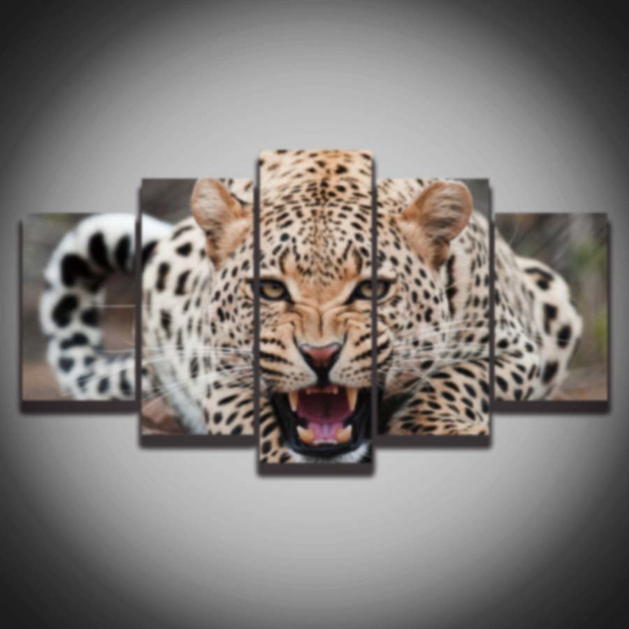 Angry Painter 2016 us $7.33 49% off|2016 promotion cuadros paintings modular picture angry leopard animal painting on canvas 5 panel wall art home decoration print-in