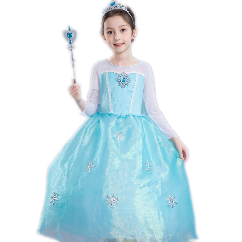 Elsa Dress for Girls Snow Queen Party Costumes Kids Cosplay Princess Dresses Anna Elza Vestidos Teens Children Dress Up Clothes 2017 new spring girl ice snow queen dress children anna elsa hooded dress toddler princess party clothes kids cosplay costume
