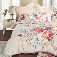 Good Condition Peony Bedding Sets King Queen Size Quilt Cover 100 Cotton Home Decor Printed 600TC