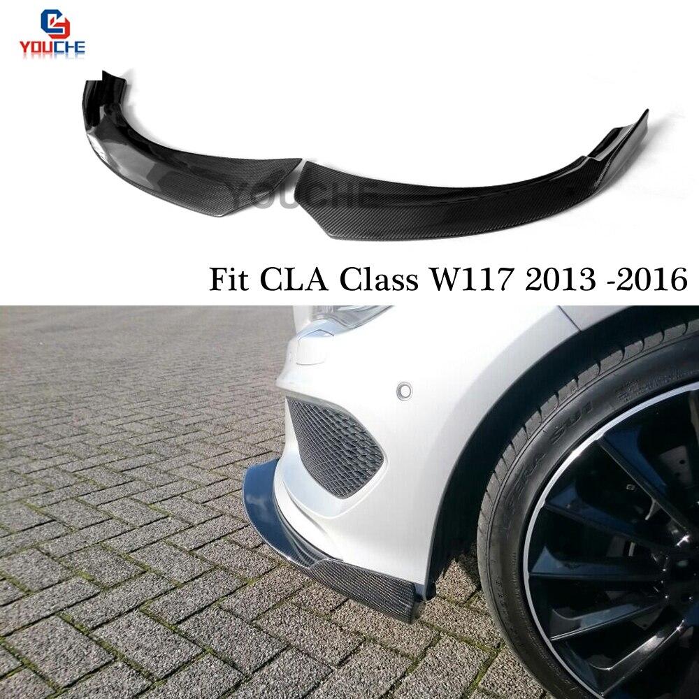 En Fiber De carbone Pare-chocs Avant Spoiler Splitter Pour Mercedes W117 Classe CLA 2013-2016 Pré-visage; ift CLA180 CLA200 CLA250 CLA45 AMG