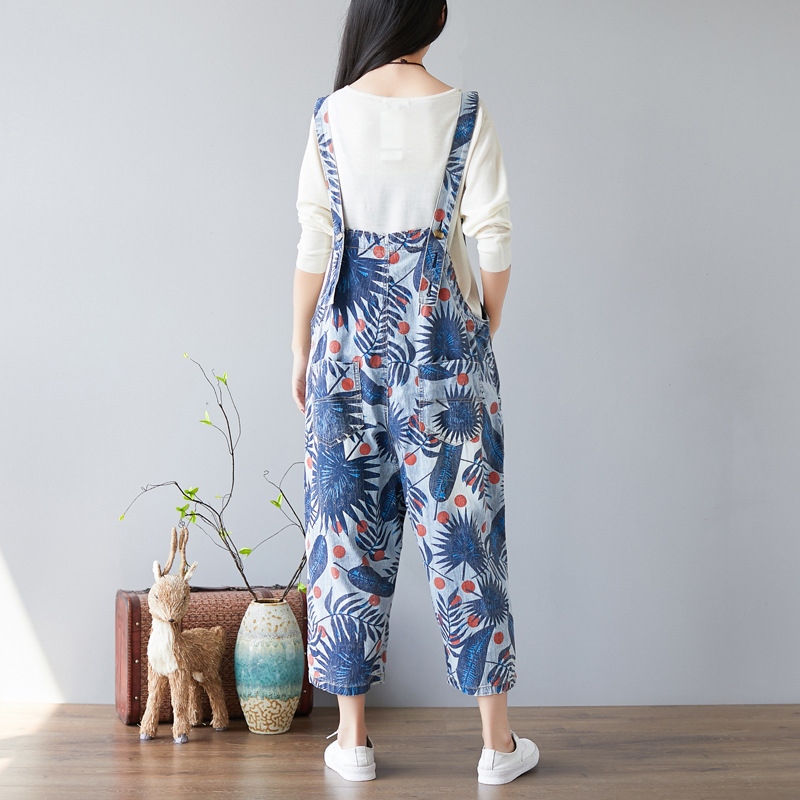 Denim Ageing Jumpsuit Nine Overalls Old Leaf Points Print Adjustable Strap New Hole Pants PHpxwqSPO