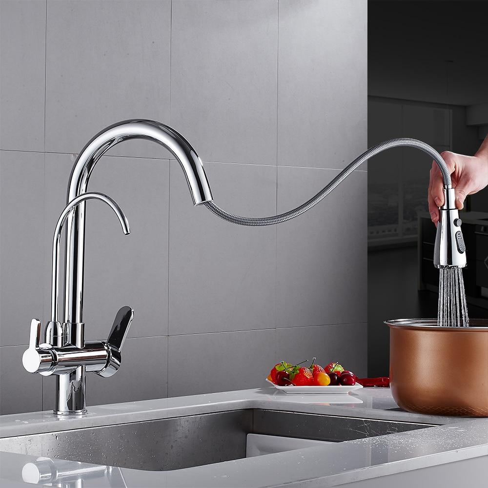 Robinets de cuisine torneira para cozinha de parede grue pour cuisine filtre à eau robinet trois voies évier mélangeur cuisine robinet WF-0195 - 2