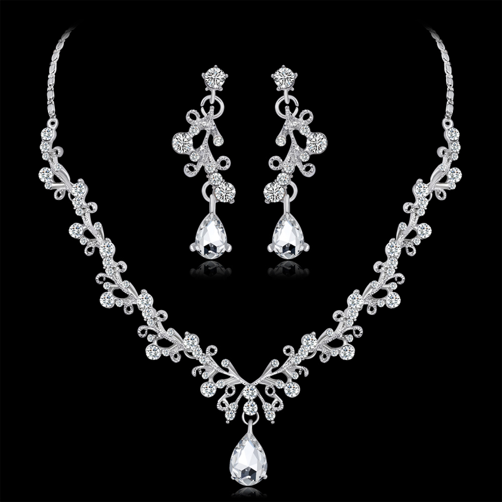 Elegant Women/'s Teardrop Long Dangle Strass Cristal Boucles D/'Oreilles Mariage Bijoux