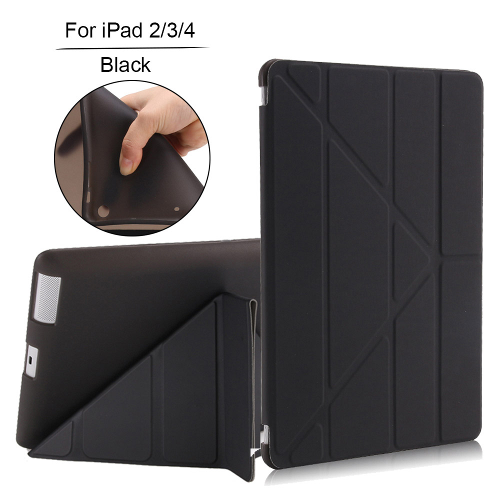 Redlai For iPad 234 A1395 A1430 Tablet Case Soft TPU Back Cover For iPad 2 3 4 PU Leather Smart Case Cover Auto Wake Up / Sleep case for ipad mini 1 2 3 smart cover soft tpu silicone back pu leather flip stand auto sleep wake up capa for ipad mini case