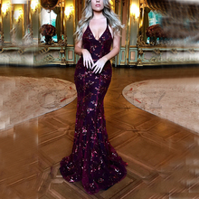 CUERLY Strap mesh sequins maxi dress Elegant backless lace up long party Robe femme 2019 autumn summer ladies sexy