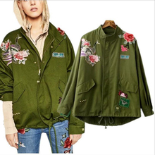 Fashion Army Green Bomber Jacket Women Embroidery Floral Print Patched Jacket Loose Ladies Jackets Tops Women's Coat Clothing