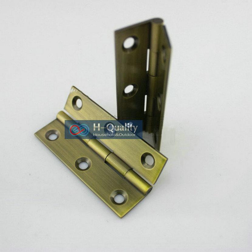 Free Bronze Screws 10PCS/Lot Door Hardware Antique Bronze 2 Inch (50MM) Length Solid Brass Door Hinge, Bronze Color