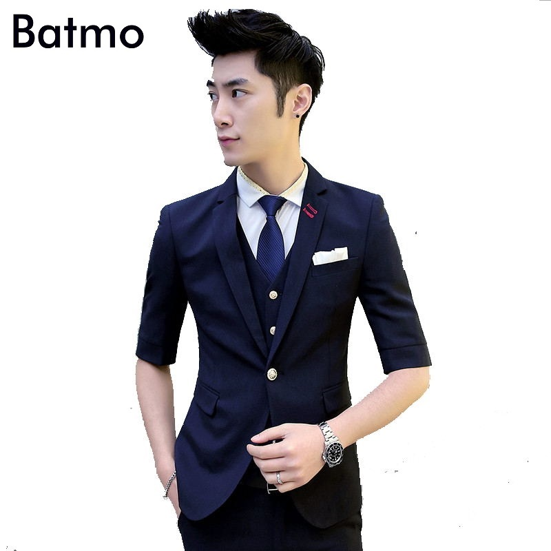 2017 new summer casual black Single Breasted suit men ...