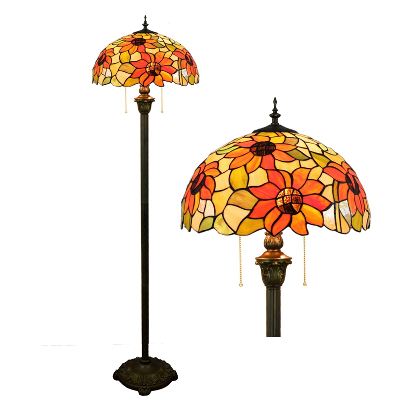 Eusolis Stained Glass Led Floor Lamp Vintage Mosaic Crystal Decorative Foot Switch For Floor Lamp Chinese Light Art Deco