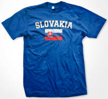 2019 Funny Slovakia Distressed Slovak Pride Flag Soccers Mens T-Shirt Tees(China)