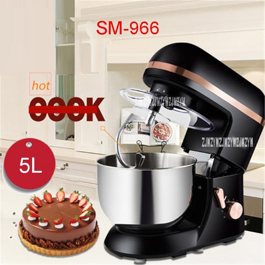 5L mélangeur électrique cuisine Robot mélangeur alimentaire oeufs cuisine gâteau Stand pour cuisson mélangeur mélange acier inoxydable noir SM-966
