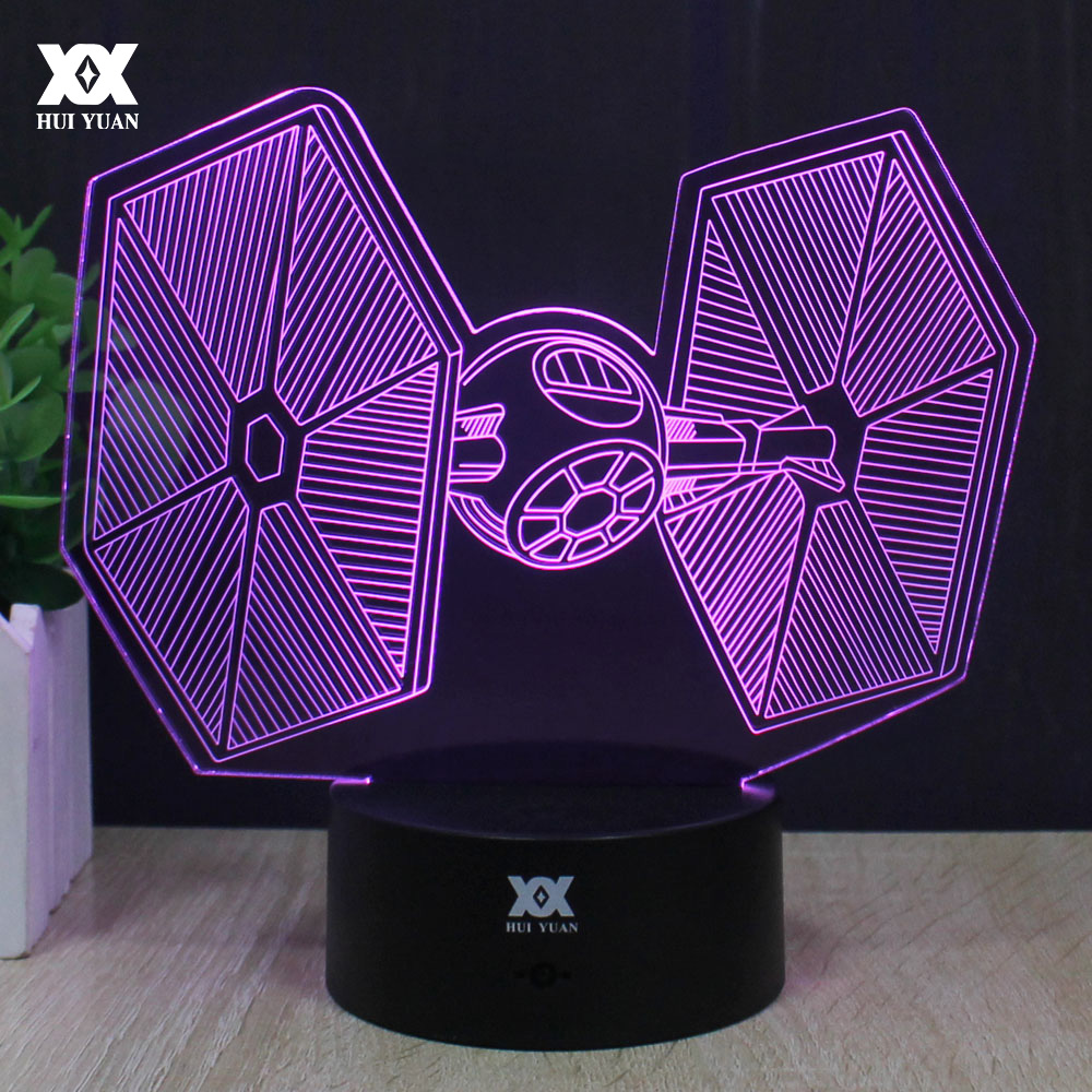 Star Wars TIE Fighter 3D Lamp LED Novelty Night Light USB Desktop Decorative Discolor Table Lamp Children Christmas Gifts