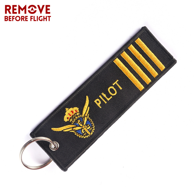 259e49394c Remove Before Flight PILOT Keychain Chaveiro Para Carro Key Ring Holder Tag  Embroidery for Car-Styling Key Chain Aviation Gift