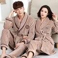 + Pantalones traje 2 UNID Otoño Invierno Pareja Pijama Traje 100% Franela de algodón Mujeres Robe Sets Hombres Pijamas ropa de Noche de La Manga Completa Homewear