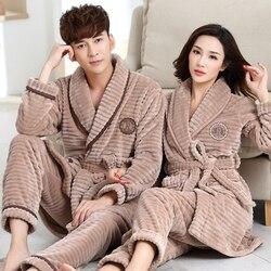 Robe + Broek 2 Pc Winter Fall Paar Pyjama Pak Dikke Warme Flanel Vrouwen Gewaad Sets Volledige Mouw Nachtkleding Mannen pijamas Homewear
