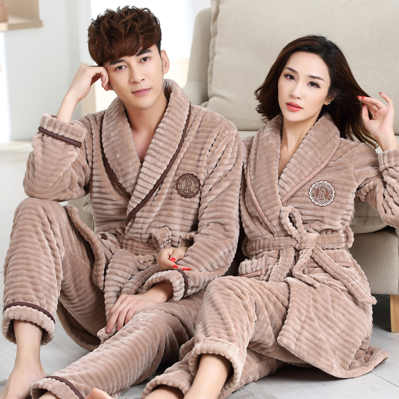 Robe + Pants 2PC Winter Fall Couple Pajama Suit Thick Warm Flannel Women Robe Sets Full Sleeve Sleepwear Men Pijamas Homewear