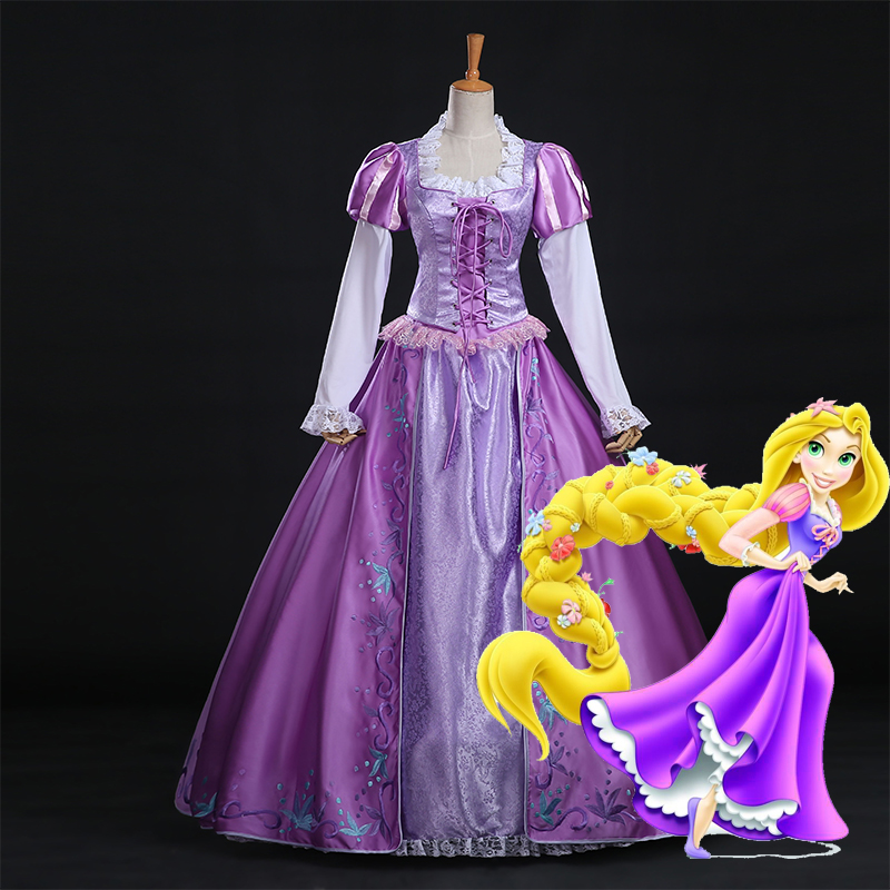 Adult Tangled Rapunzel Costume Princess Dress Women's Halloween Carnival Birthday Party Costume
