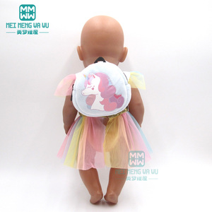 Image 2 - Accessories for doll fit 43 cm toy new born doll baby fashion Cartoon plush backpack