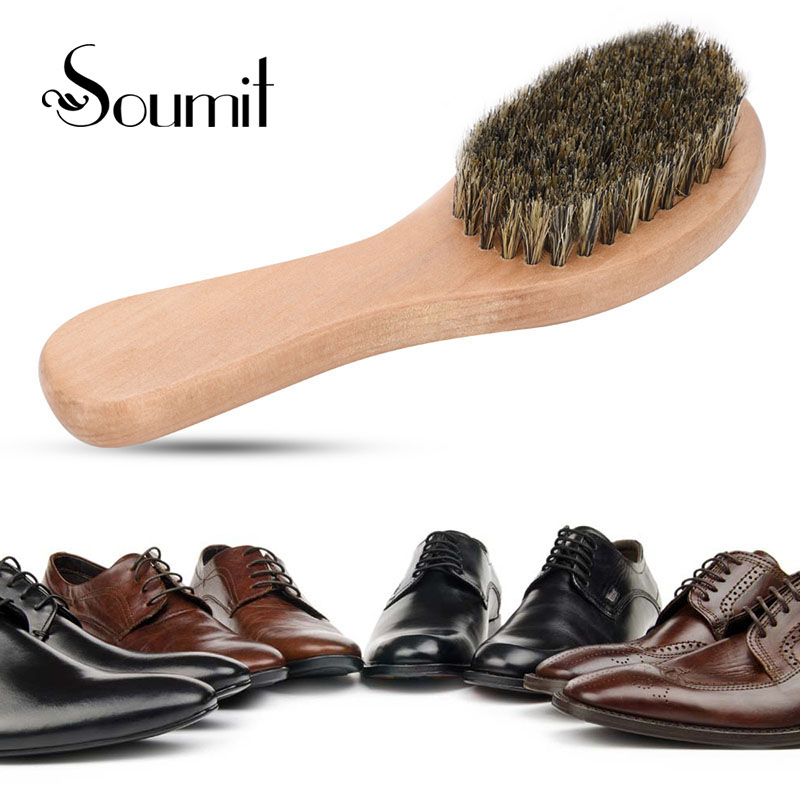 Soumit Wood Handle Bristle Horse Hair Shoe Brush Boot Polish Shine Maintain Shoe Shape Shoe Cleaner for Cleaning Tools intelligent sole shoe polisher shoe cleaning machine household automatic shoe cleaner