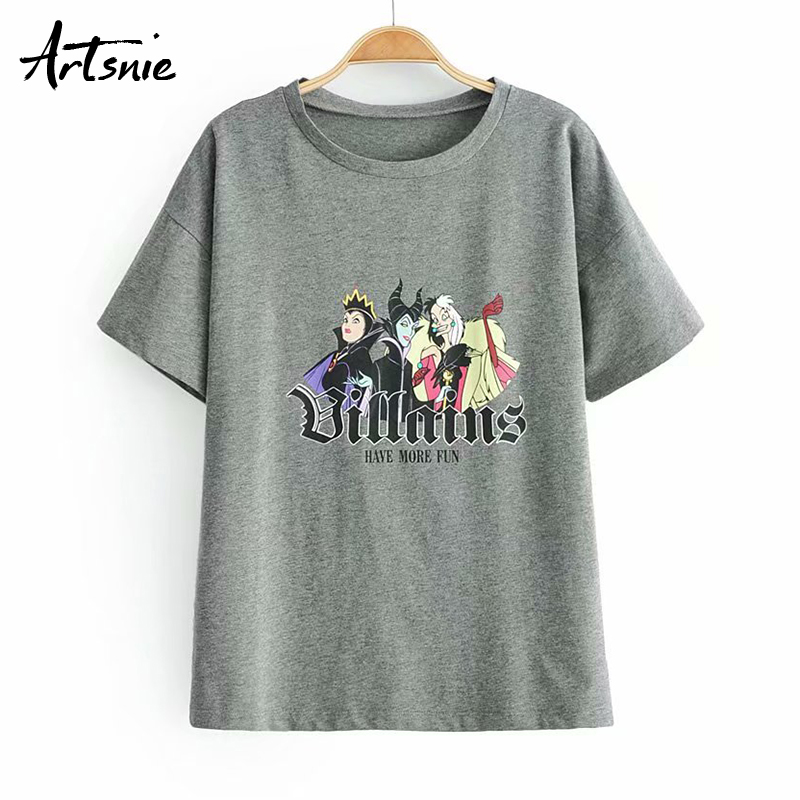 Artsnie cartoon print streetwear dark gray women   t     shirt   summer 2019 o neck short sleeve knitted tops female tee Funny   t  -  shirts