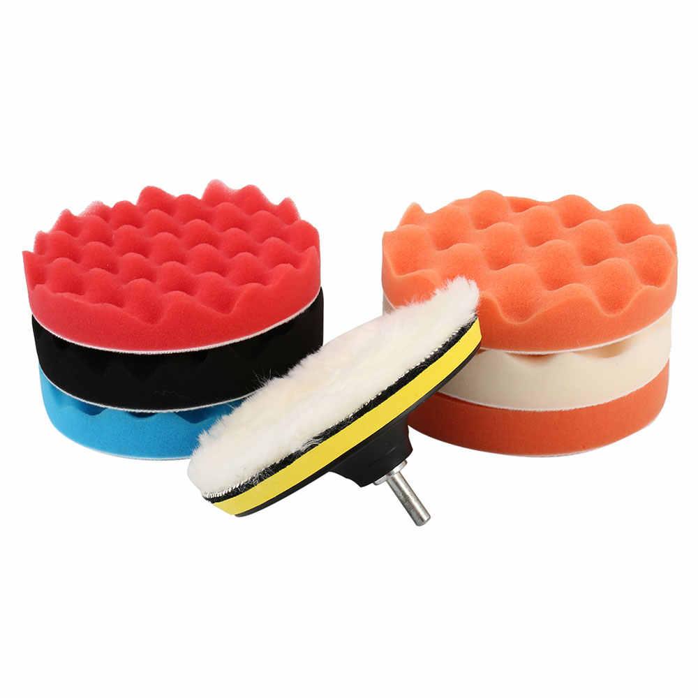 8 pçs/set 6/7 Polegada Carro Polimento Set Pad Almofadas de Esponja Encerar Esponja de Polimento Polonês Auto Broca Set Kit para o Carro roda polidor de Cera