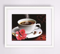 New Full Round Diamond Painting Cross Stitch Mosaic Handmade Steaming Hot Warm Heart Coffee Unfinished Embroidery Kits