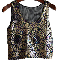 Sherhure 2018 New Vintage Boho Cropped Tank Tops Sexy Women Sequins Sleeveless Vest Female Mesh Patchwork