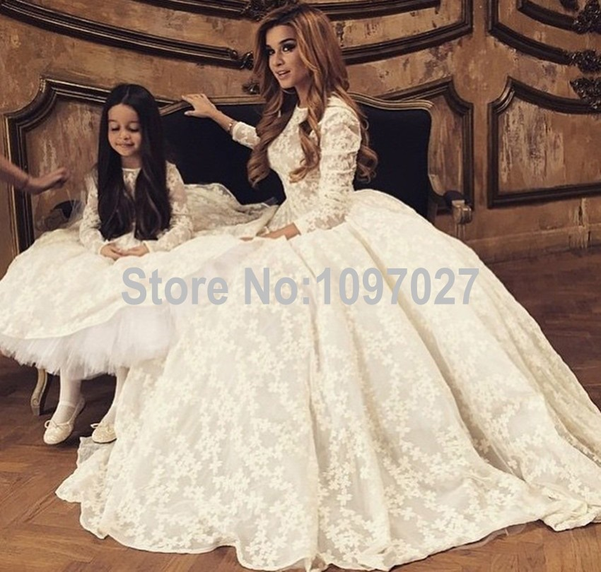 Puffy O Neck Lace Vestidos De Noiva Princesa Sweep Train 3/4 Sleeves ...