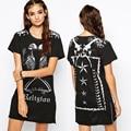 Cool Punk Style Skull Print Women Casual Club Dresses 2016 Fashion Short Sleeve Zipper Split Summer T Shirt Dress