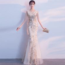 3381ae42976 Sequined Sale V-neck 2018 New Women s Elegant Long Gown Party Proms For Gratuating  Date Ceremony Gala Evenings Dresses Up A83 Z