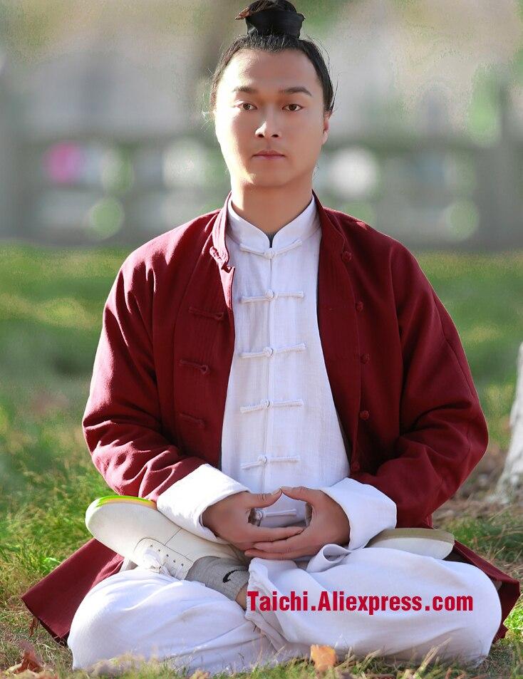 Handmade Linen Tai Chi Uniform Kung Fu Suit Wing Chun Uniform Chinese Stlye Clothes Three Pieces Jacket Shirt Pants Blue Pink