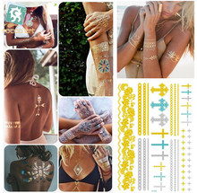 VT339/New 2015 temporary gold cross bracelet tattoos metal foil and sliver flash tattoo meallic