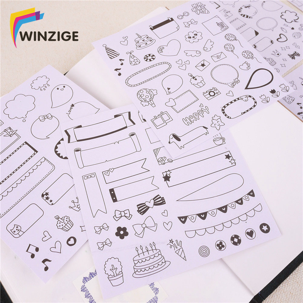 6 pcs/set Kawaii Paper Stickers Scrapbooking Calendar Diary Bullet Journal Planner Stickers Decoration Student School Stationery 6 sheets pack kawaii cute drawing market planner paper diary deco stickers pvc transparent scrapbooking school kids stationery