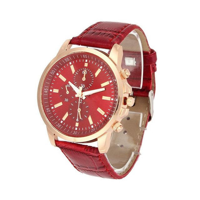 BAOLANDE2016 Women Men Wrist Watches Casual Geneva Faux Leather Quartz Analog reloj hombre kol saati Good-looking JUN 22