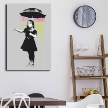 Banksy Nola Grey Rain HD Canvas Painting Print Bedroom Home Decor Modern Wall Art Oil Poster Salon Picture Framework