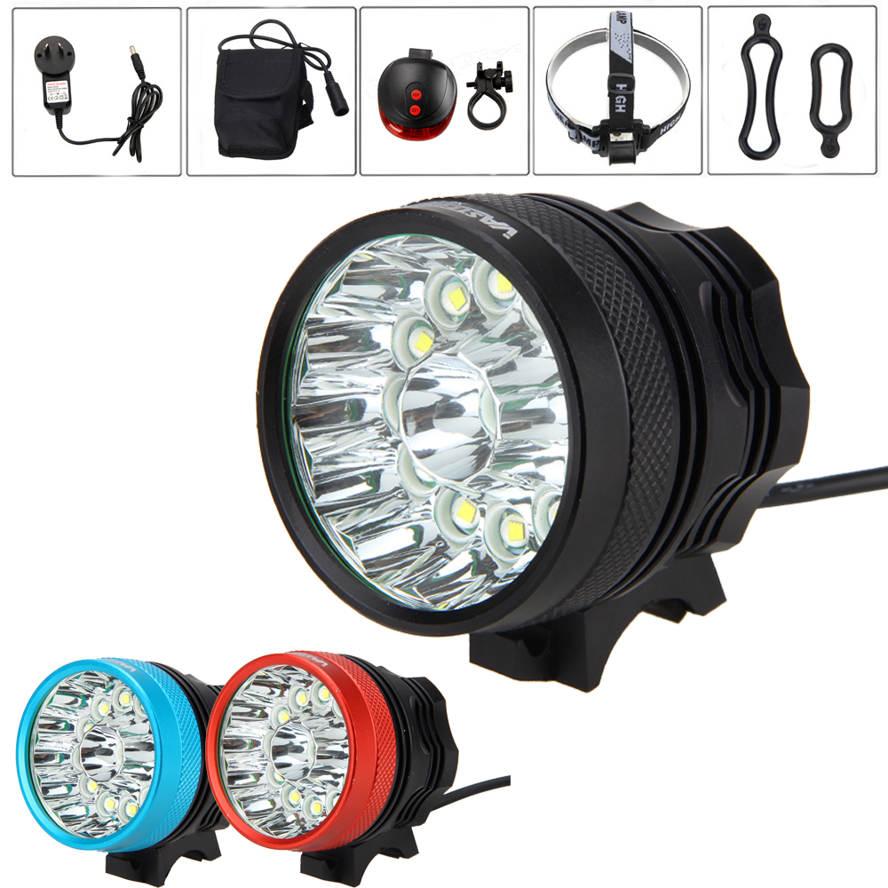 Super Bright 25000 Lumens 13* XM-L T6 LED Bike Lamp MTB Night Cycling Handlebar Bicycle Light with Battery Set and Red Taillight